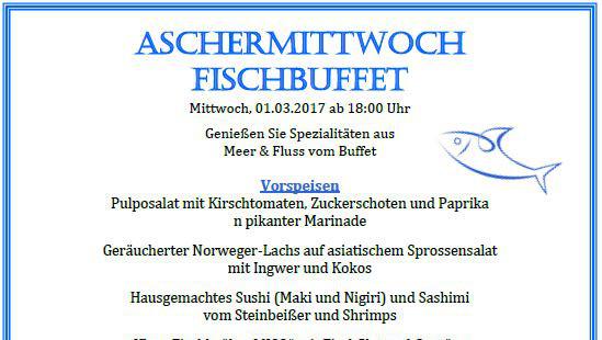 Aschermittwoch Fischbuffet