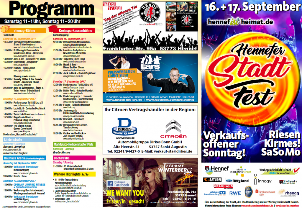 Stadtfest Hennef 2017 - Programmflyer
